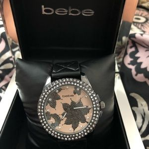Bebe Black and Pink Rhinestone Floral Watch ~ New